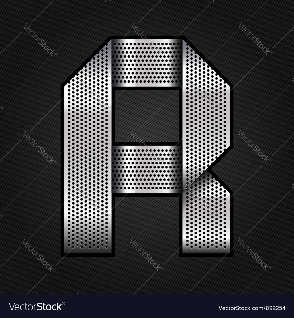 Letter metal chrome ribbon - R vector image