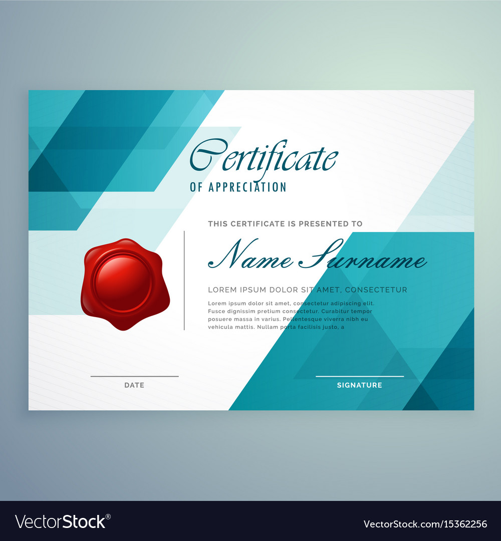 Modern abstract blue certificate design template vector image yadclub Image collections