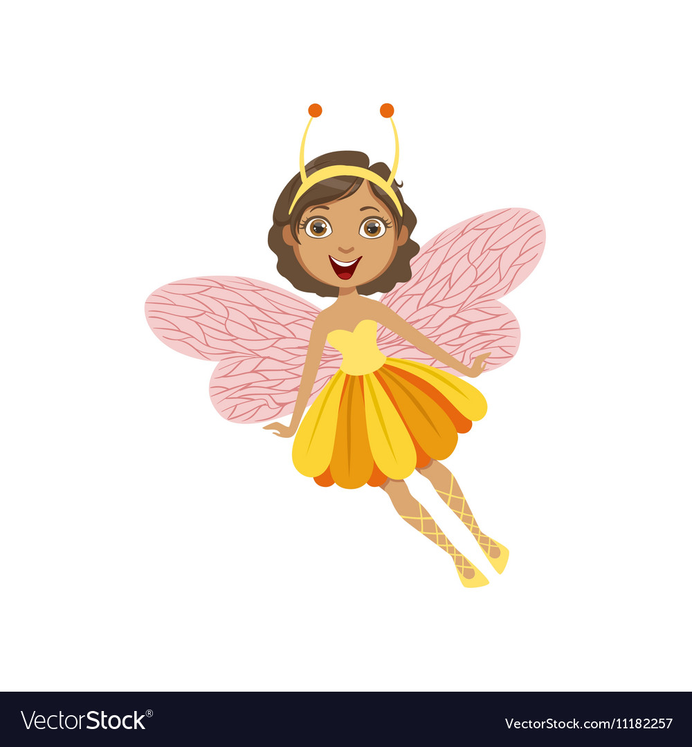 Cute Fairy With Insect Features Girly Cartoon vector image