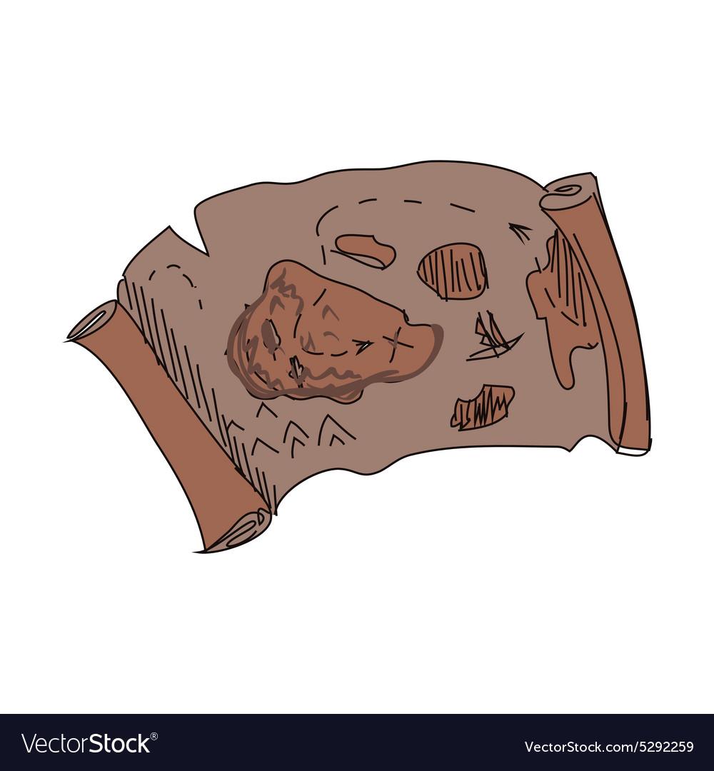 Doodle treasure map vector image
