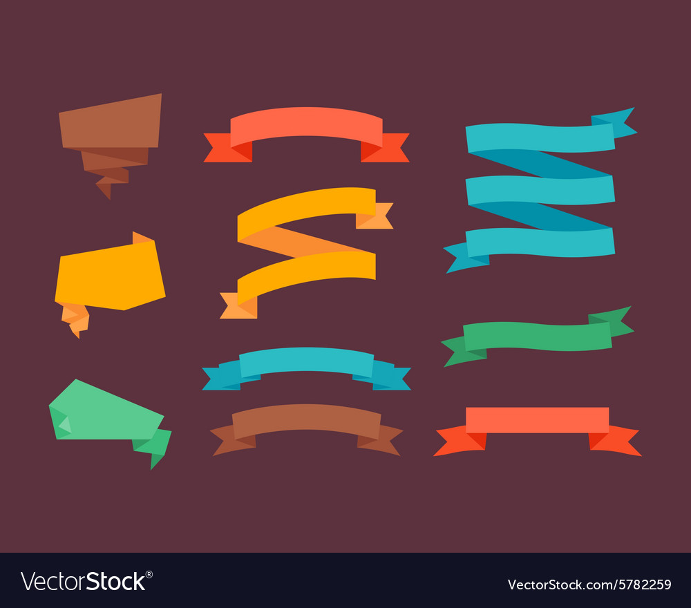 Retro flat ribbons vector image