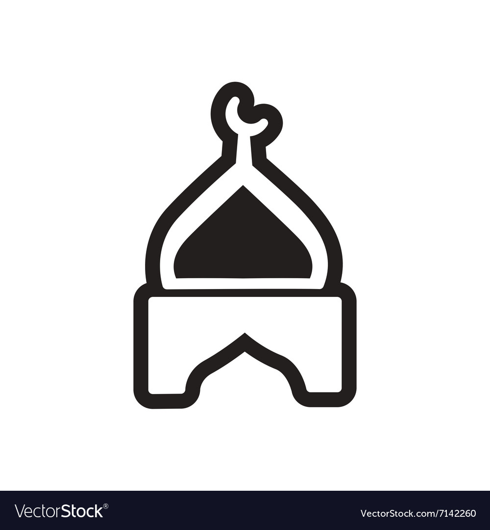 Stylish black and white icon Indian temple