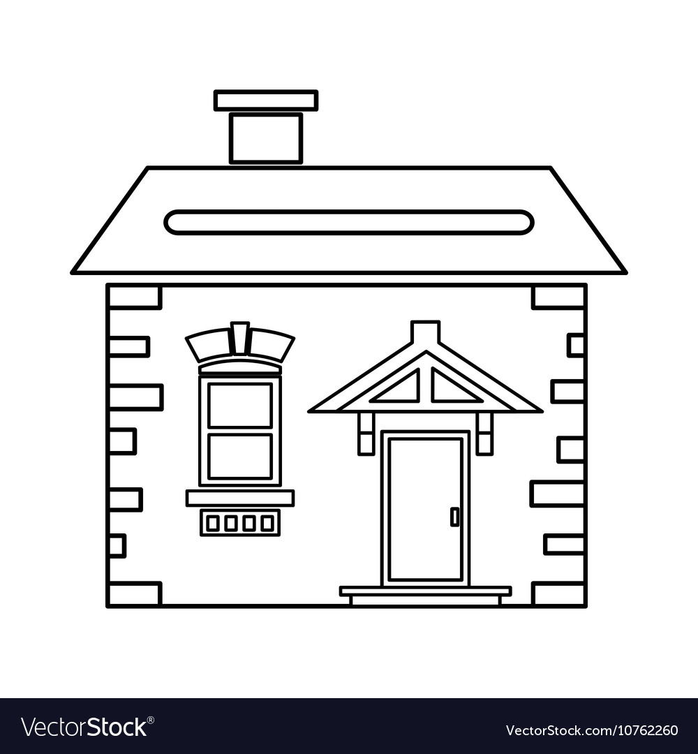 House outline picture - House With Roof And Chimney Icon Outline Style Vector Image