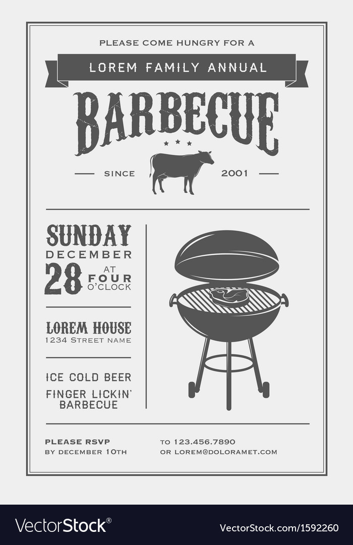 Vintage barbecue invitation vector image