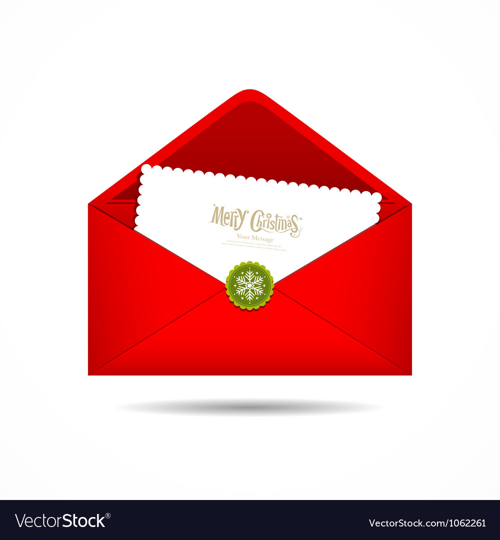 Red Envelope letter Merry Christmas white card Vector Image