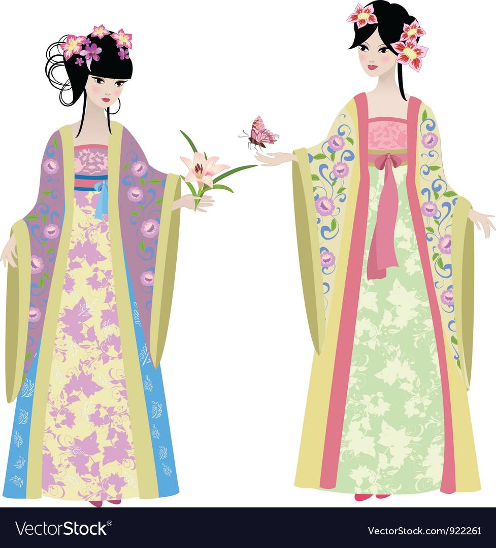 Chinese girls6 Vector Image
