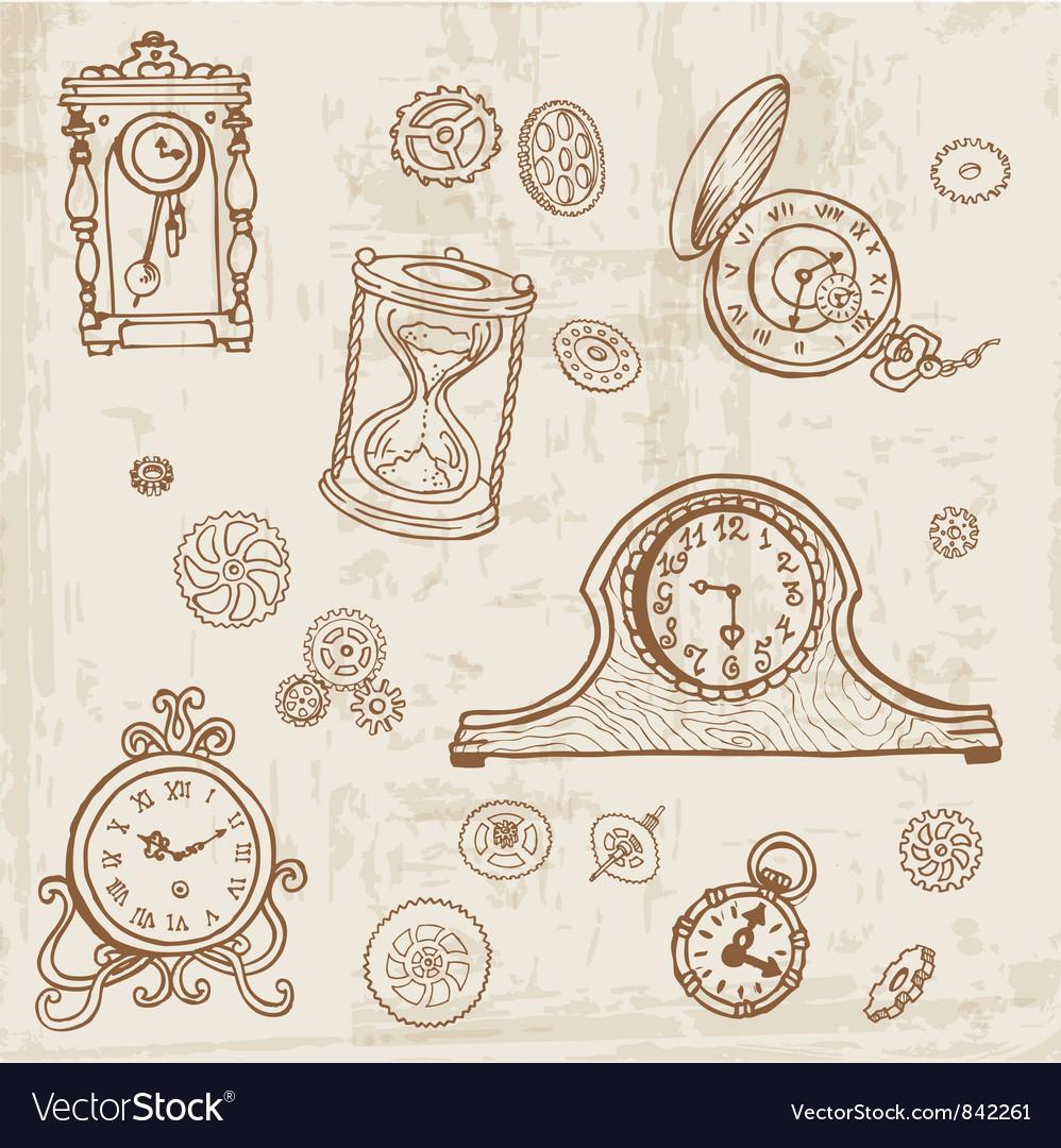 Set of Vintage Doodle Clock vector image