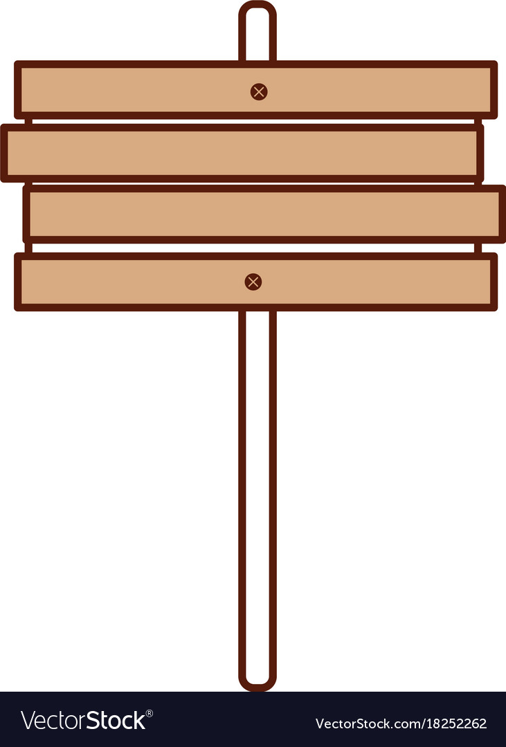 Wooden sign post blank brown symbol Royalty Free Vector