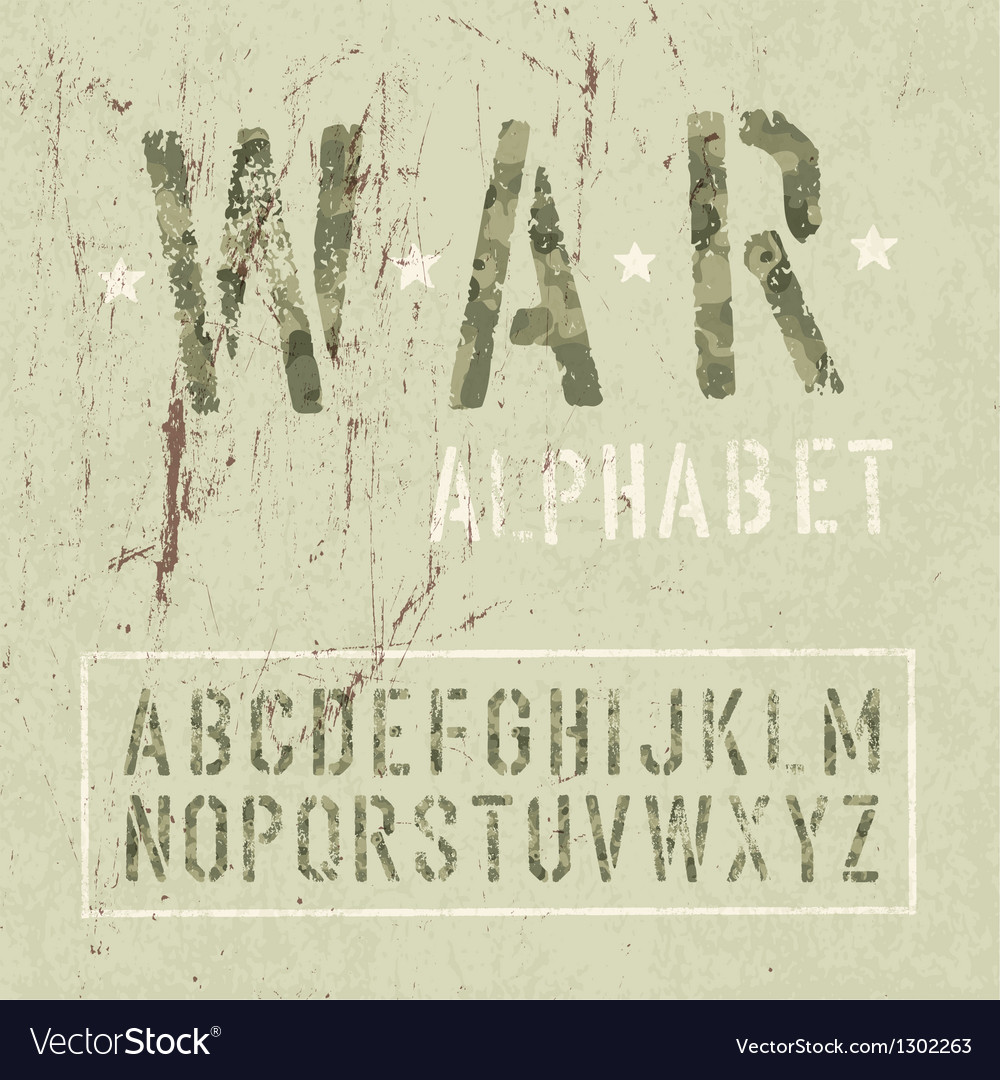 War alphabet vector image