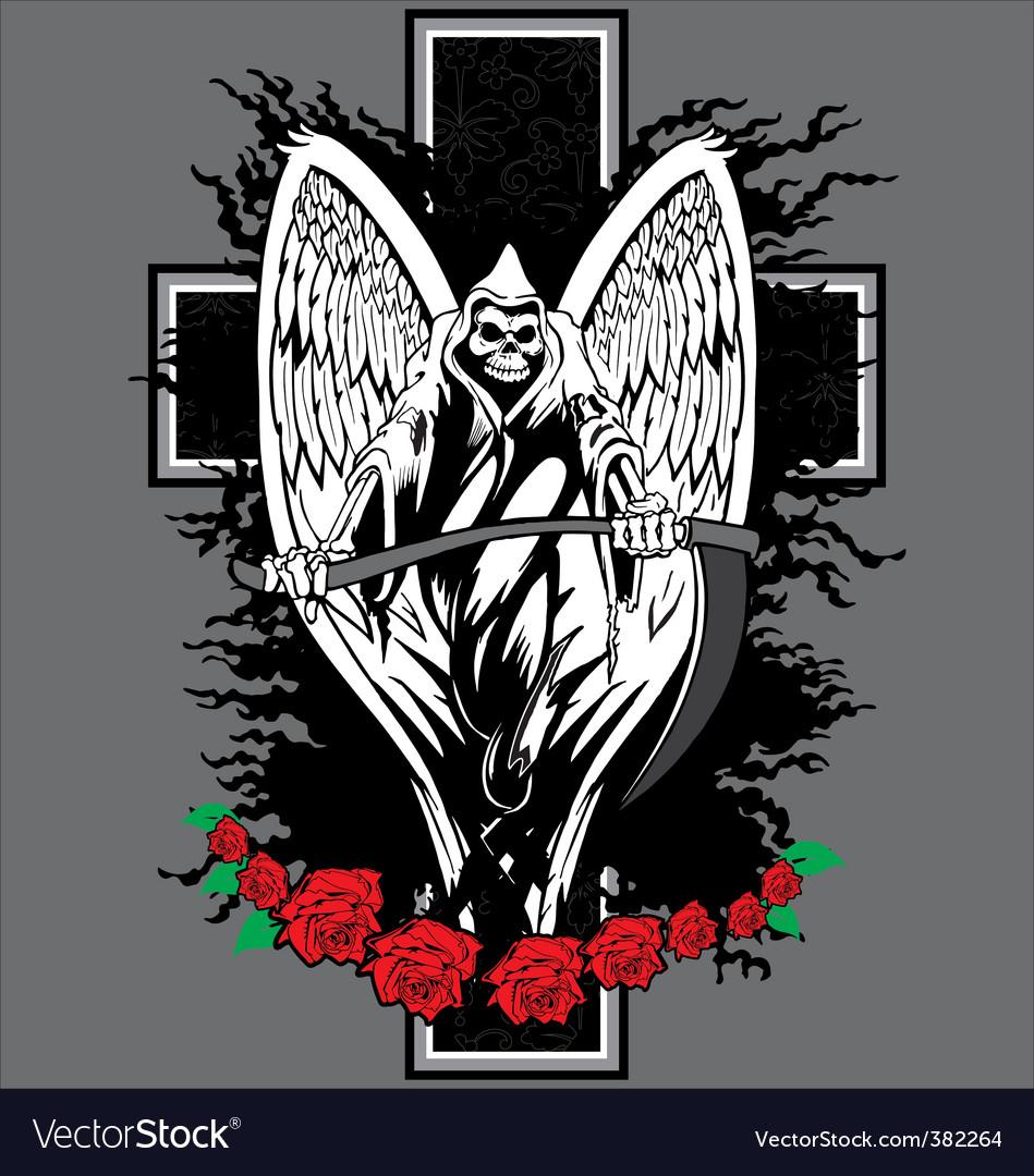 Skull cross tattoo vector image