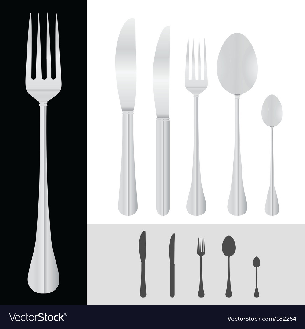 Spoon fork knife vector image