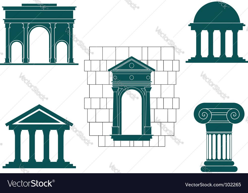 Ancient buildings symbols vector image