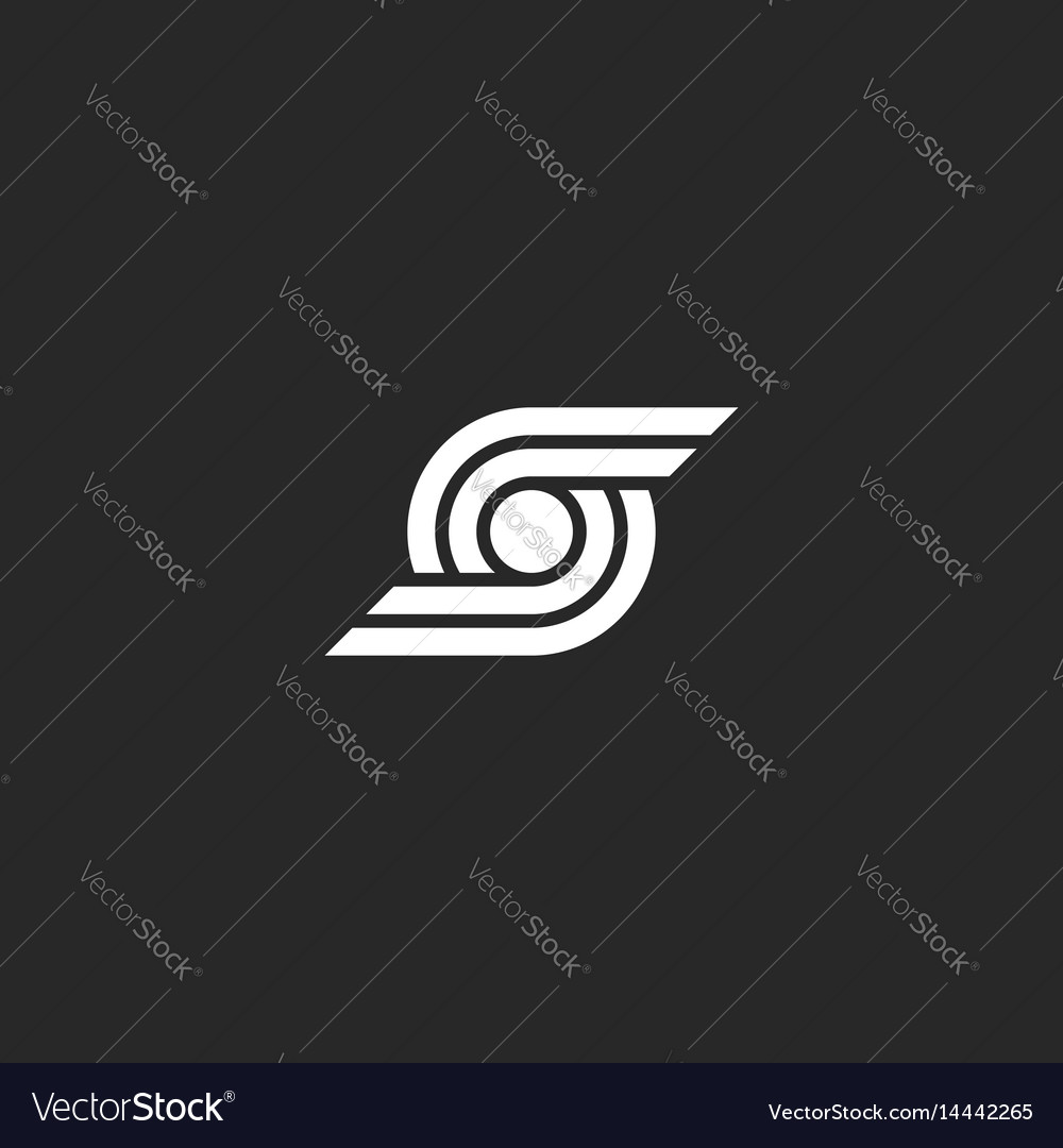 Letter s logo abstract wings and circle geometric vector image