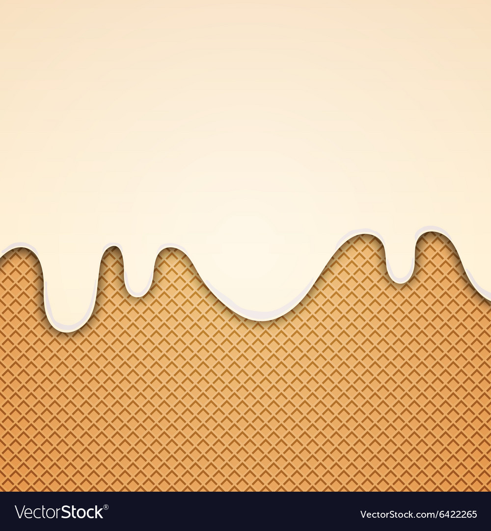 Wafer and flowing white chocolate cream or yogurt vector image