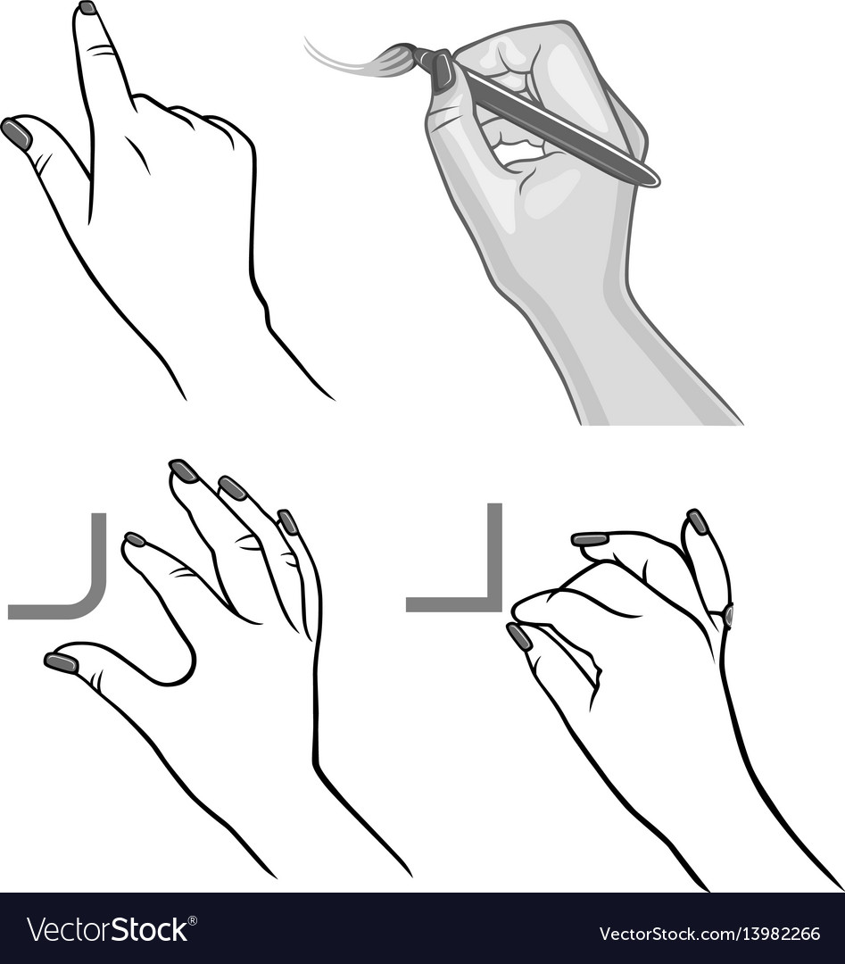 Hands drawing process vector image