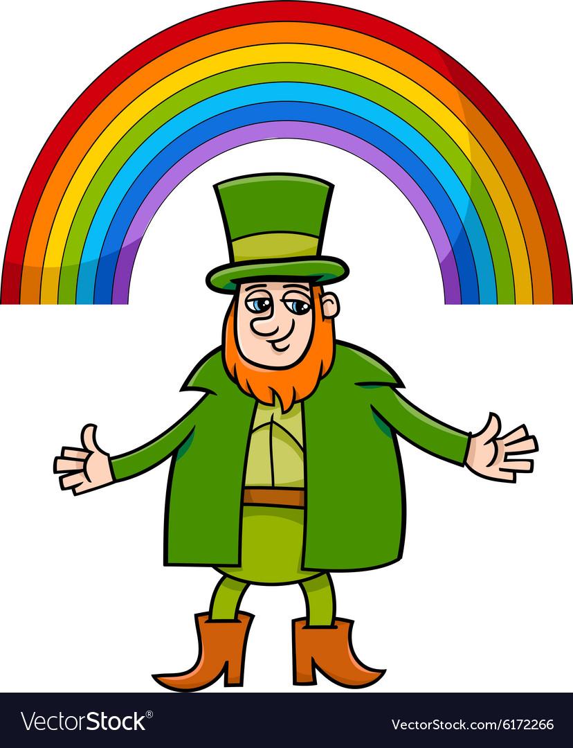 leprechaun and rainbow cartoon royalty free vector image