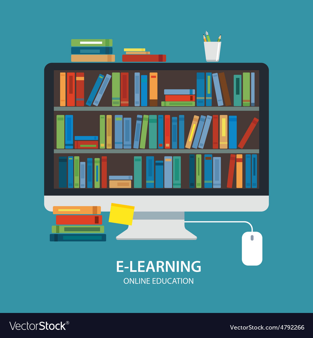 Online library education concept flat design vector image