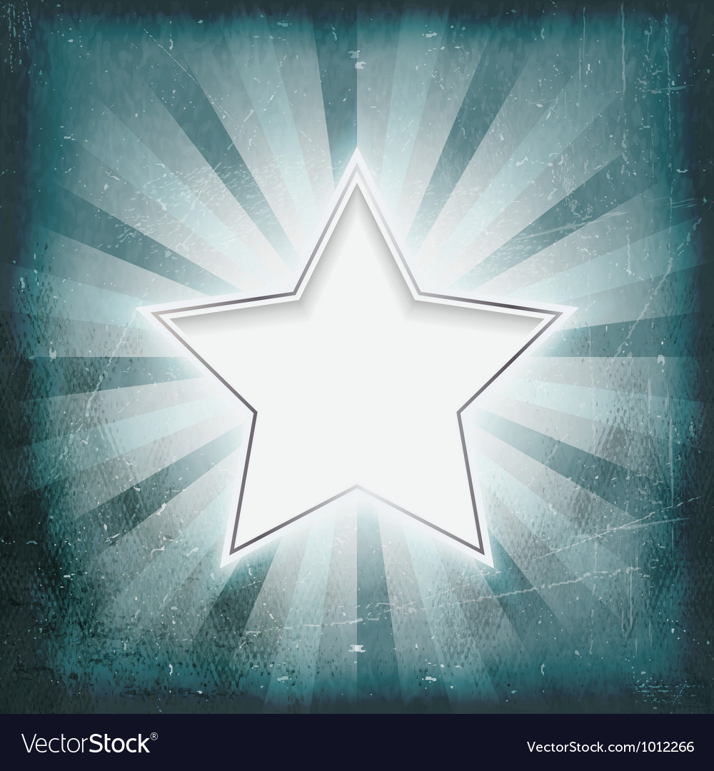 Silver rimmed star on aged light rays parchment vector image