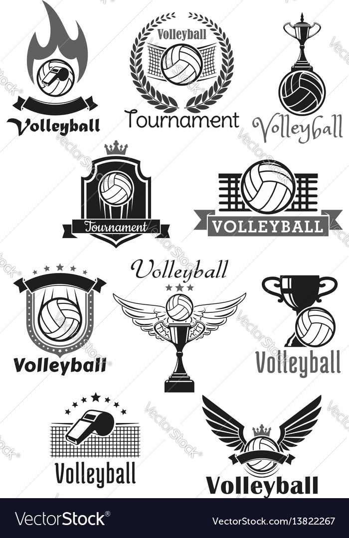 Volleyball tournament sport club icons set vector image