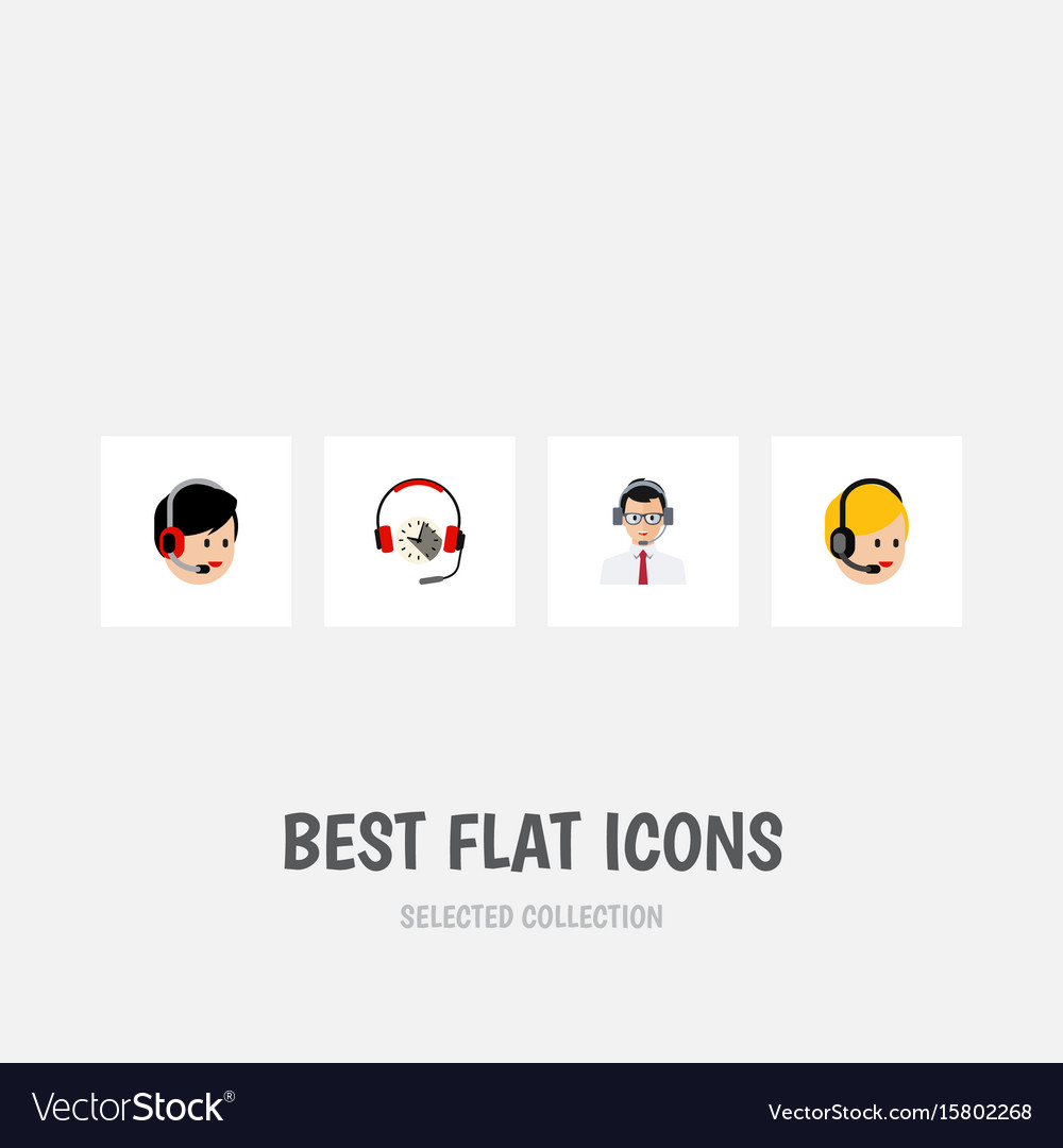 Flat icon call set of headphone call center vector image