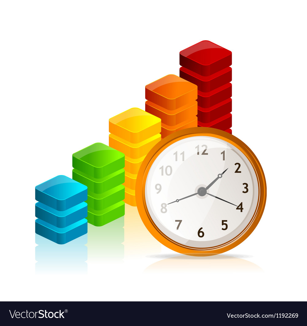 Business graph and clock vector image