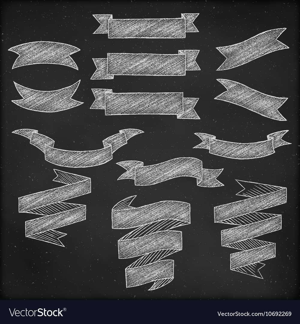 Chalkboard hand drawn banners vector image