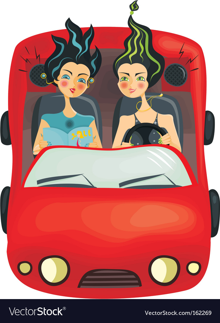 Girls driving car vector image