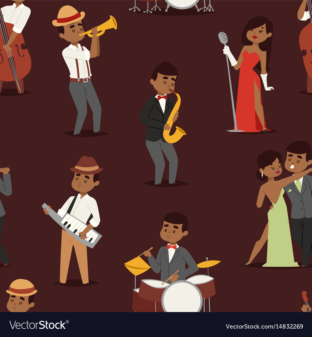 Jazz music seamless pattern group of creative vector image