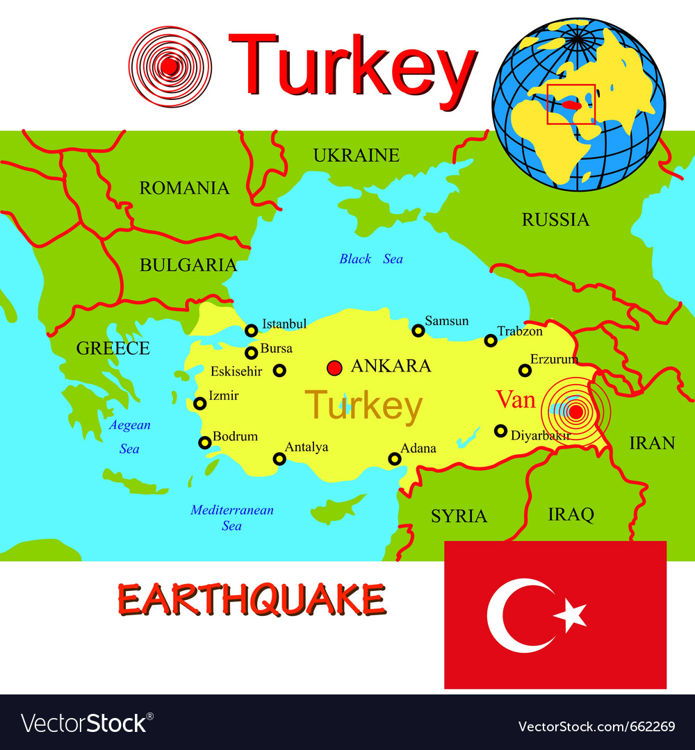 Turkey Map With Epicenter Earthquake Royalty Free Vector - Turkey map