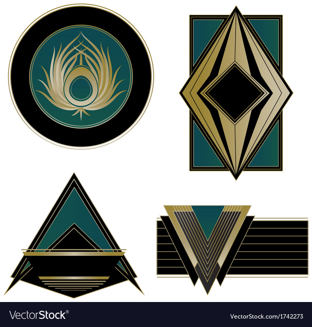 art deco logos and design elements royalty free vector image