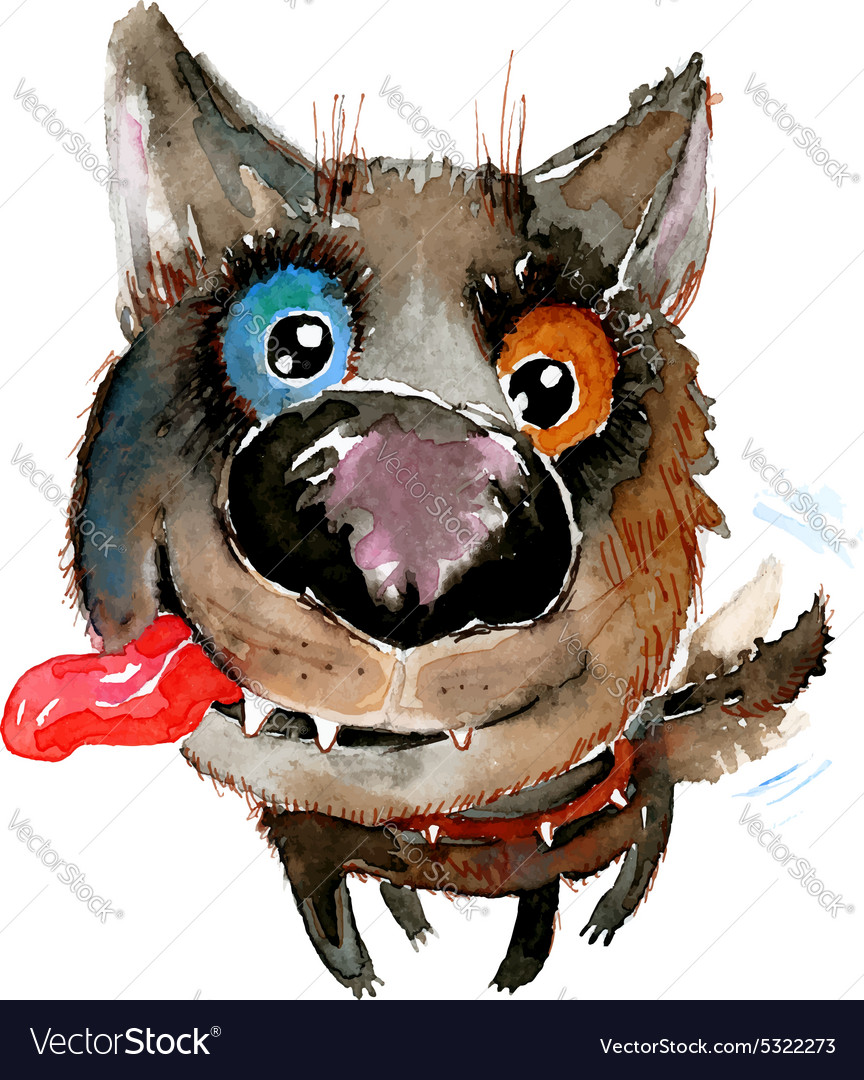 Hand drawn watercolor happy funny dog vector image