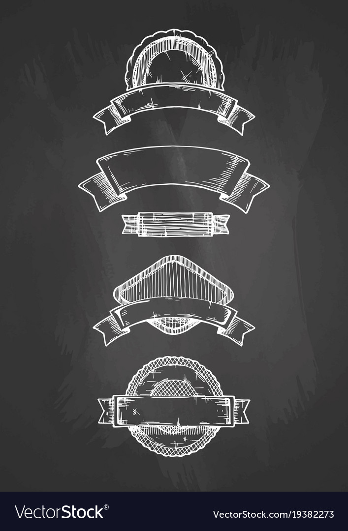 Retro labels on chalkboard vector image