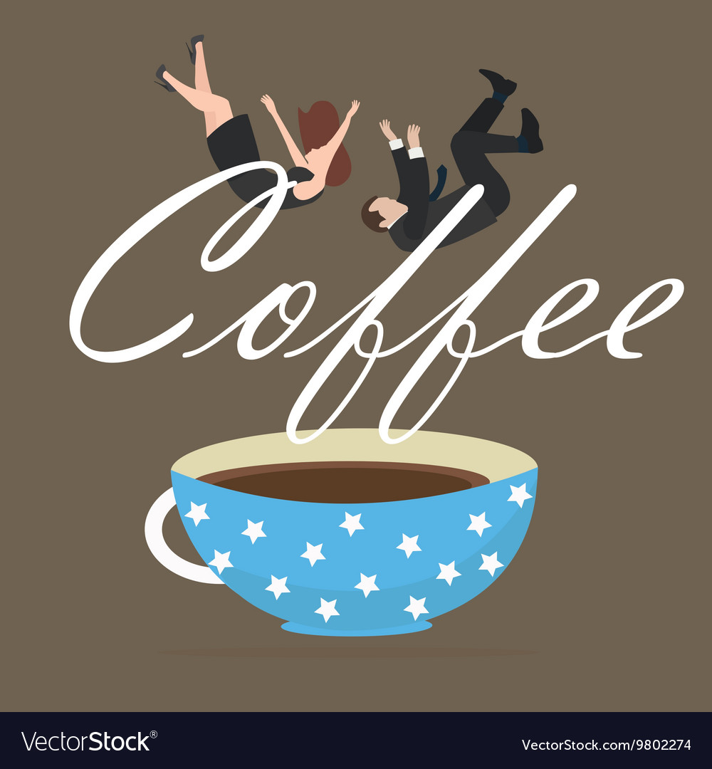 Coffee addict people business fall into cup vector image