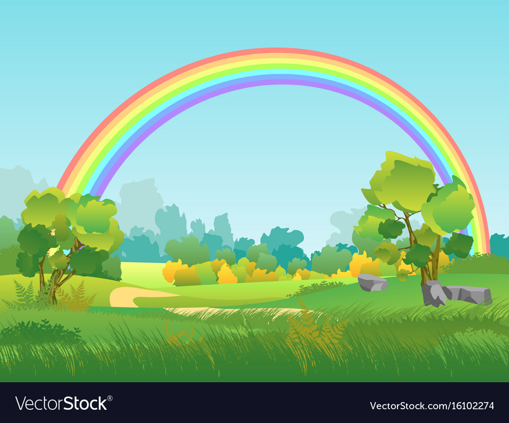 Rural landscape with rainbow summertime vector image