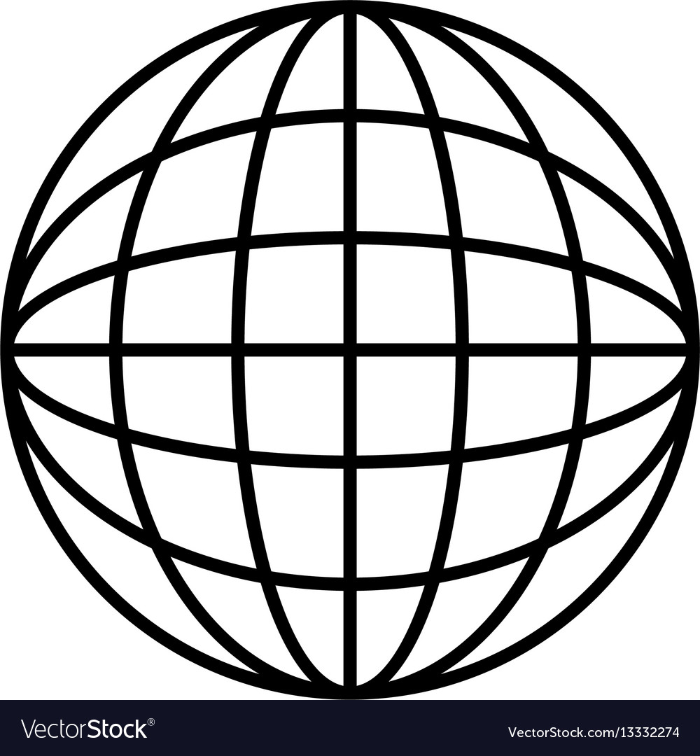 silhouette sphere with lines cartographic vector image rh vectorstock com vector sphere logo vector sphere intersection