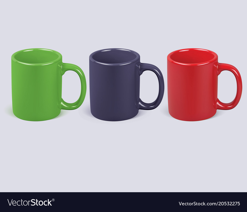 colorful coffee cups isolated realistic 3d vector image