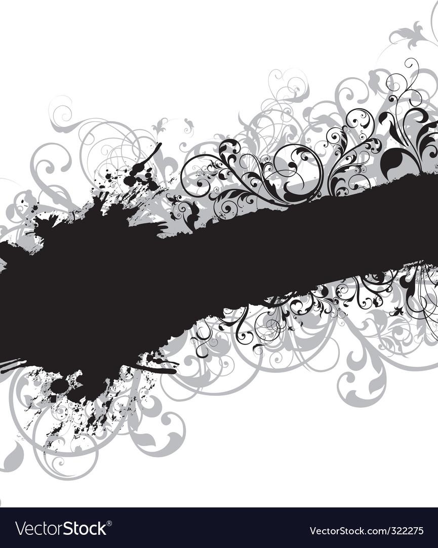 Swirling floral background banner vector image