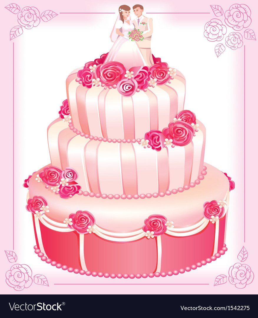 Wedding pink cake vector image