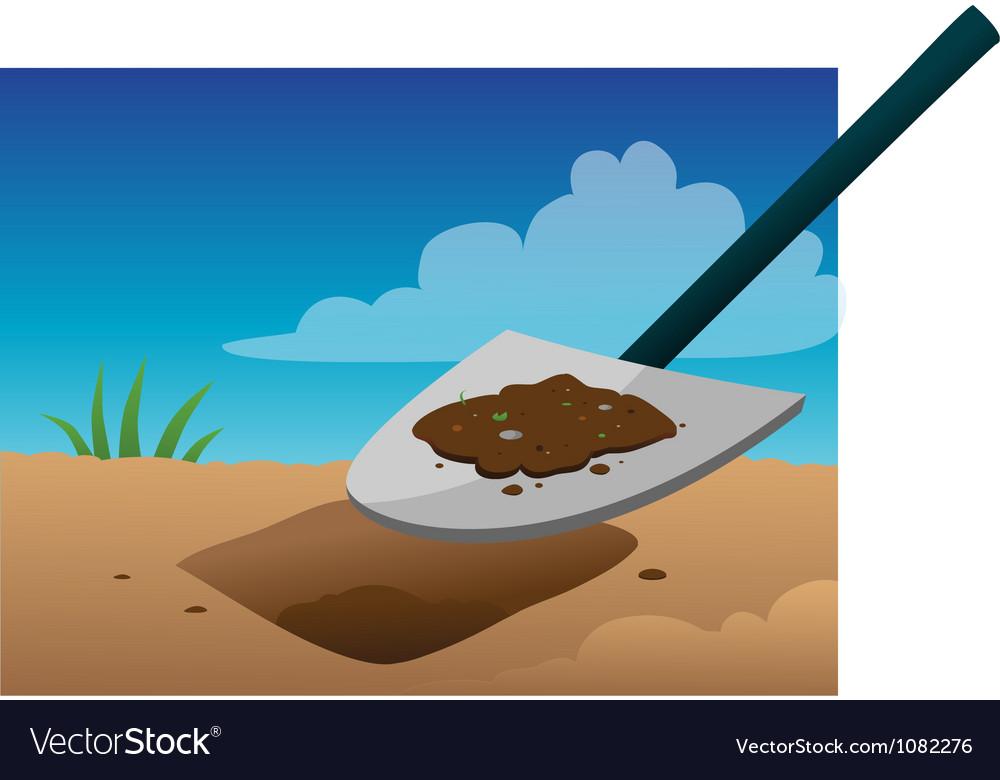 Shovel digging vector image