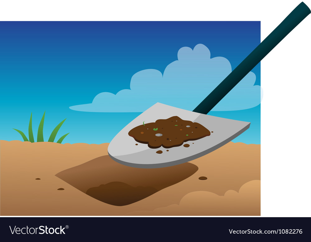 Shovel digging vector image