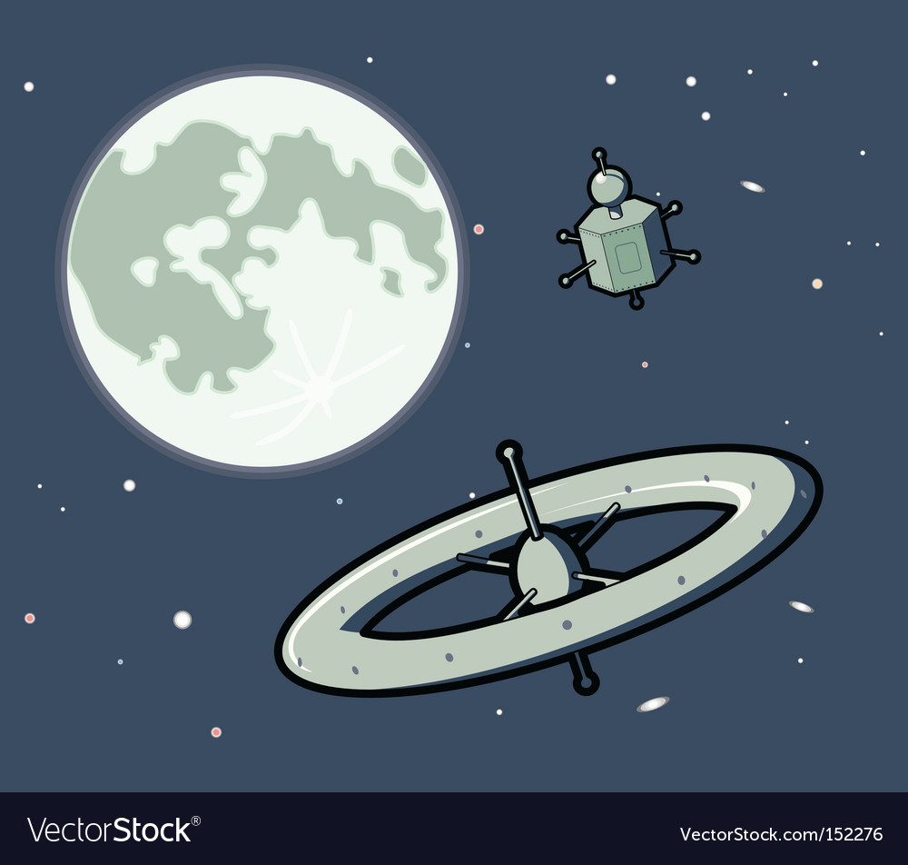 Spacemachinesandmoon vs vector image