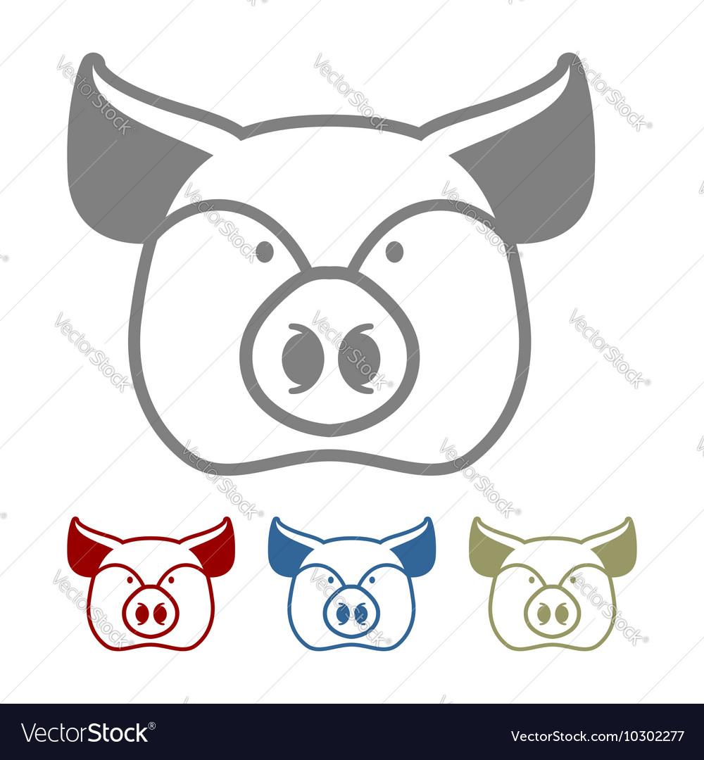 Pig icon flat style Head farm animal stencil Cute vector image