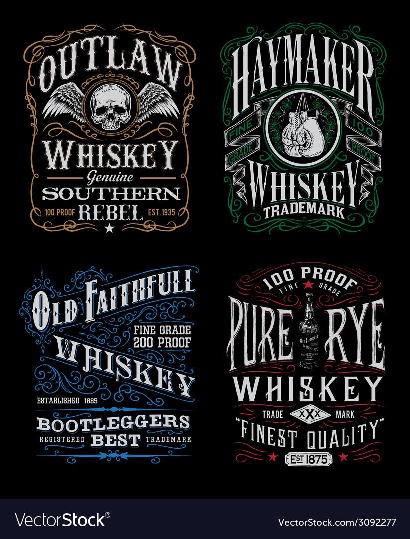 Vintage Whiskey Label T-shirt Graphic Set vector image
