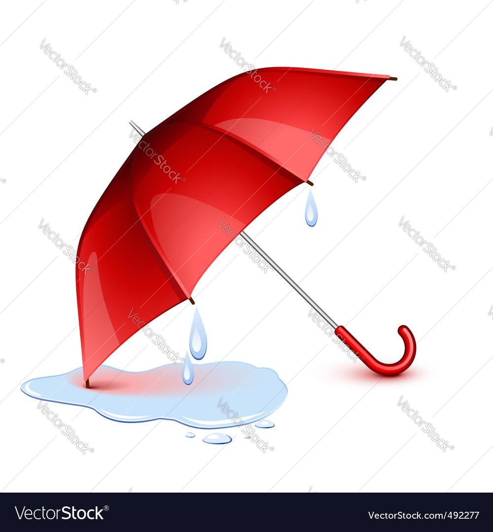 Wet umbrella vector image