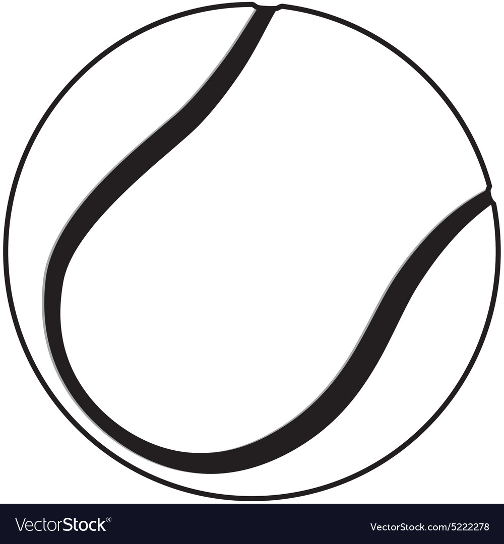 A tennis ball outline isolated in white background vector image