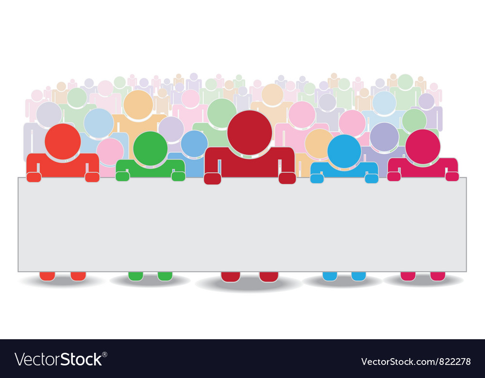 Crowd holding label vector image