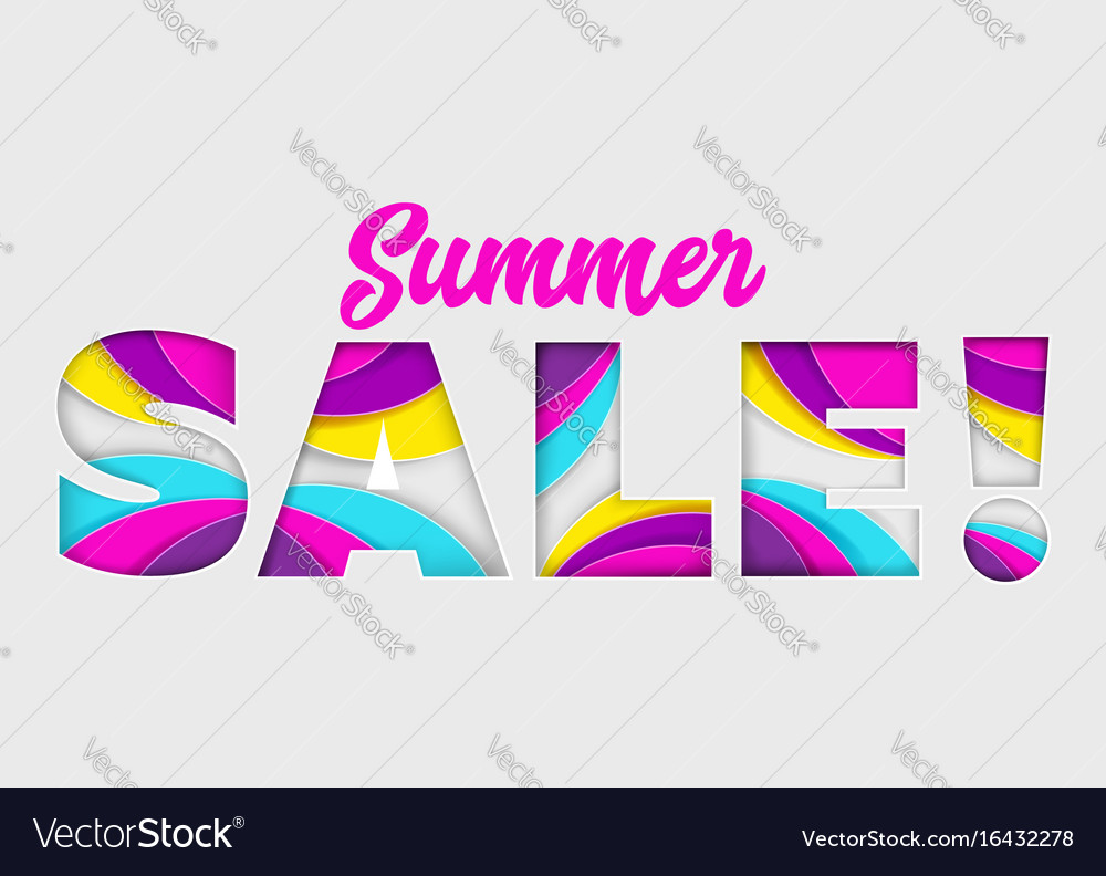 Summer sale banner on isolated background vector image