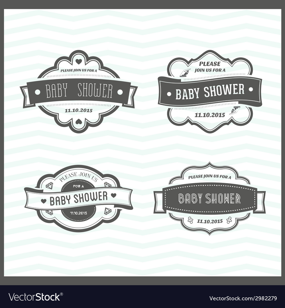 Set of baby shower invitations vector image