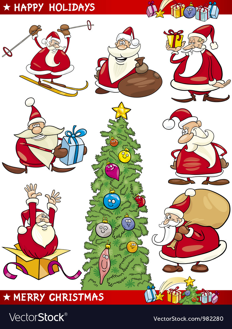 Cartoon Set of Christmas Themes vector image