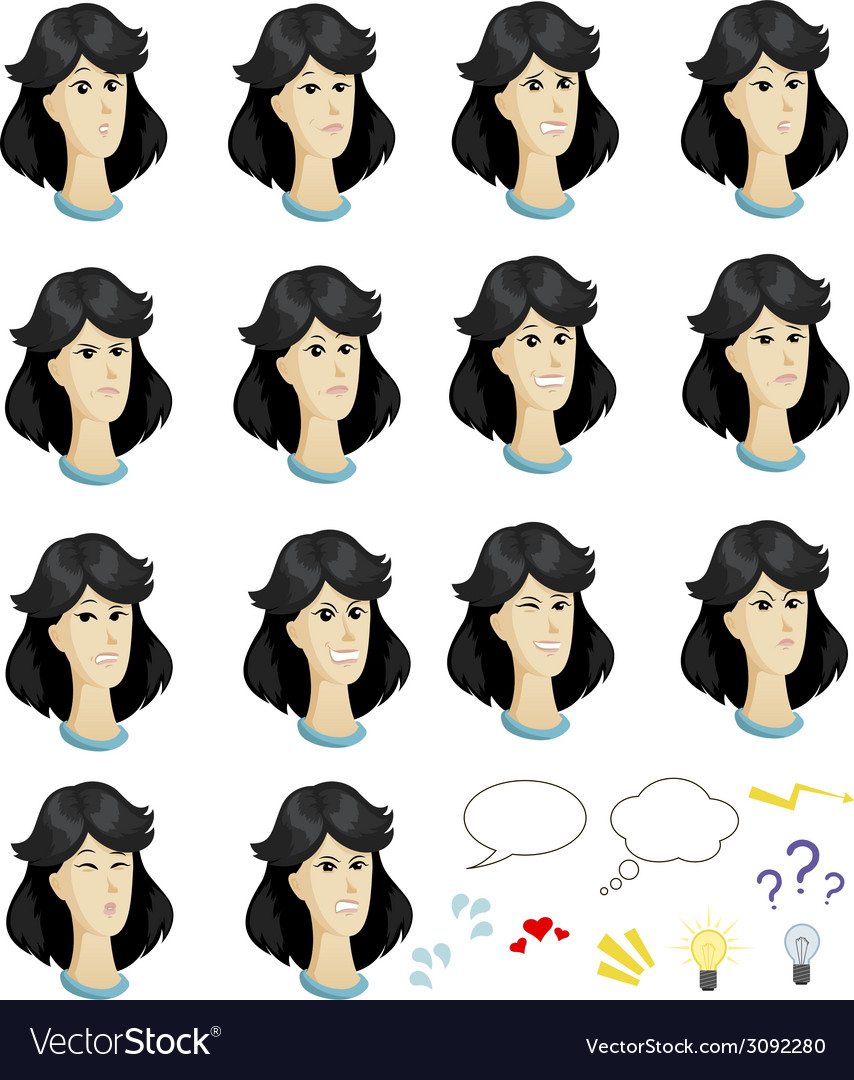 Set of cartoon asian female faces with emotional vector image